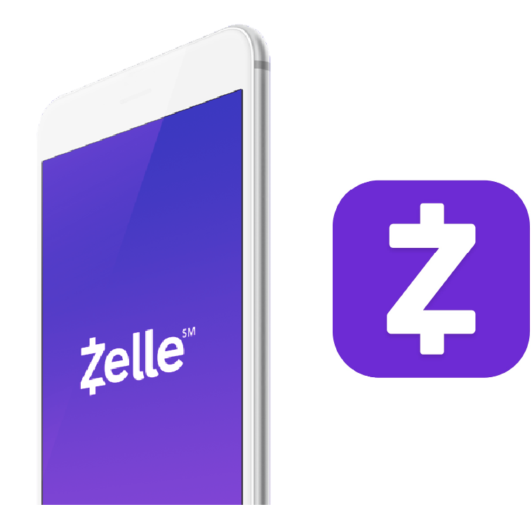 Smartphone image with Zelle logo on the screen
